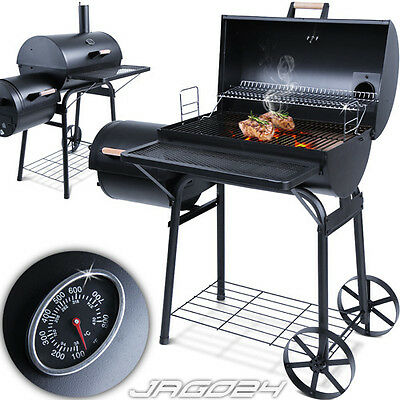 BBQ Smoker Barbecue Charcoal Grill Barrel Cart Wheels Garden Cooking Smoking