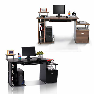 Wood Computer Desk Laptop Workstation PC Table Drawer Shelf Office Home Business