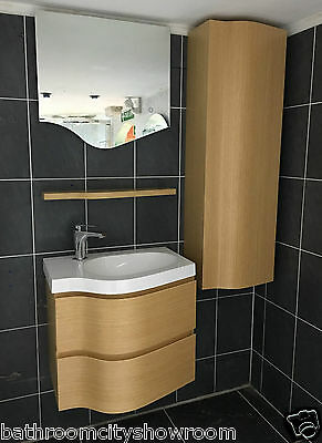 XD Bathroom Vanity Unit with Basin Storage Tap Shelf and LED Mirror Suite Beech