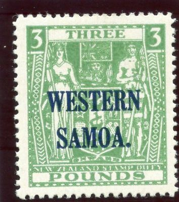 Samoa 1948 KGVI £3 green superb MNH. SG 213. Sc 201.