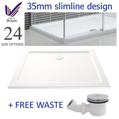 Slimline 35mm Rectangle Square Shower Enclosure Stone Resin Tray Free Waste Trap