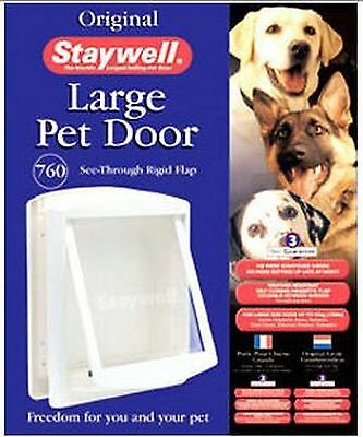 Staywell 760 White Pet Large Dog Door - Clear Dog Flap