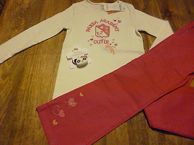 "Free P&P Gymboree ""Panda Academy"" Top, Pants And Bobble 8 Years"
