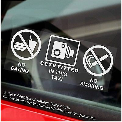 2 x TAXI-No Eating,Drinking,CCTV Fitted Stickers-Minicab Cab Notice-50mm Signs