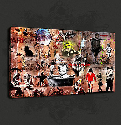 Banksy Tribute Collection Graffiti Canvas Print Art Wall Design Free Delivery