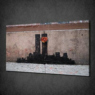 Banksy Twin Towers Tribute Graffiti Urban Canvas Print Picture Poster Wall Art