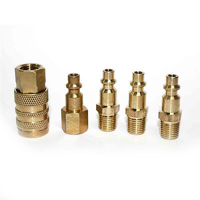 """5Pc Solid Brass Quick Coupler Set Connector Air Hose Fitting 1/4"""" NPT Female"""