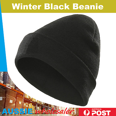 Men's Women Beanie Knit Ski Cap Hip-Hop Black Color Winter Warm Unisex Wool Hat