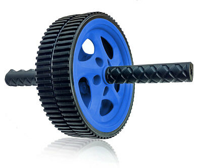 Dual Ab Wheel for Abs / Abdominal Roller Workout Exercise Fitness Blue