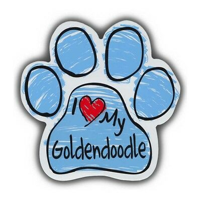 "Blue I Love My Goldendoodle Scribble Paw Magnet Dog Cat 5.5"" x 5.5"" Shaped Puppy"