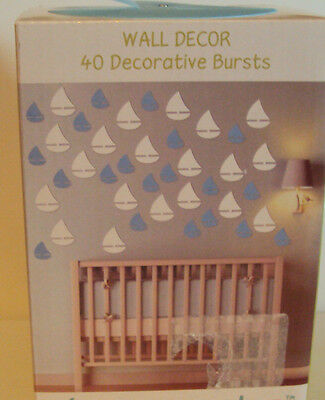 Infant Boys Tiny Miracles Baby Blue & White Boats 3D Wall Decorations Bedroom
