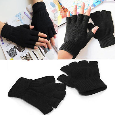 Black  WOOL Winter Fingerless Gloves Warm Winter Unisex Ski Gloves Freesize