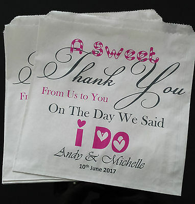 Personalised White Vintage Sweet / Candy / Favour Bags for Weddings & Events