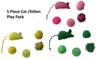 5 Piece Cat Soft Toy Ball Mouse Mice Kitten Fun Play Activity Pack