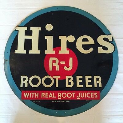 """Antique Large Hires Root Beer R-J Round Advertising Metal Sign 24"""" 1940s"""