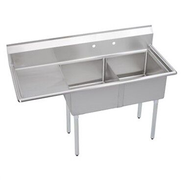 """Stainless Steel 62.5"""" X 30"""" 2 Double Two Compartment Sink w Left Drainboard NSF"""