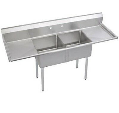 """Stainless Steel 48"""" X 22"""" 2 Double Two Compartment Sink w 2 Drainboards NSF"""