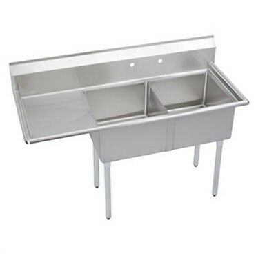 "Stainless Steel 57"" X 24"" 2 Double Two Compartment Sink w Left Drainboard NSF"