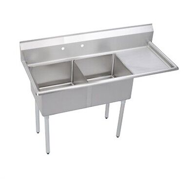 """Stainless Steel 62.5"""" X 30"""" 2 Double Two Compartment Sink w Right Drainboard NSF"""