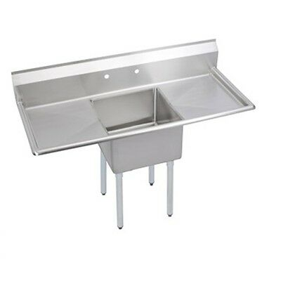 """Stainless Steel 60"""" X 26"""" 1 Single One Compartment Sink w 2 Drainboards NSF"""