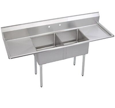 """Stainless Steel 96"""" X 30"""" 2 Double Two Compartment Sink w 2 Drainboards NSF"""