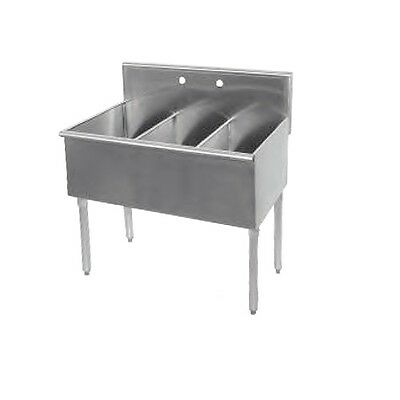 "Stainless Steel 72"" x 27.5"" 3 Three Comparment Budget Sink"