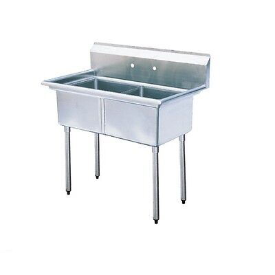 """Stainless Steel 35"""" X 21"""" 2 Double Two Compartment Sink NSF"""