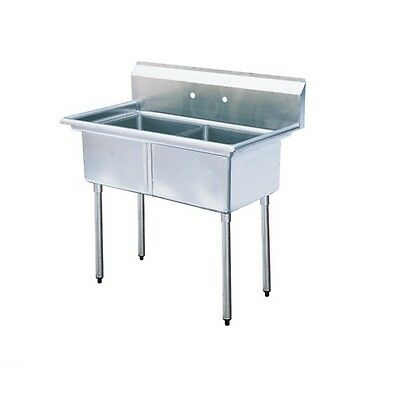 """New Stainless Steel 45"""" X 26"""" 2 Double Two Compartment Sink NSF Commercial 16GA"""