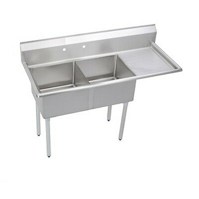"""Stainless Steel 62.5"""" X 26"""" 2 Double Two Compartment Sink w Right Drainboard NSF"""