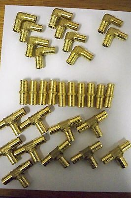 "1/2"" Lead Free Brass Pex Fittings 10 Ea-Elbow,coupler, Tee"