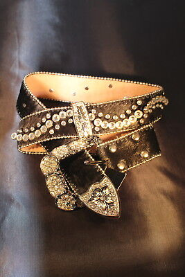 New! Wildfire Western Cowgirl Bling Belt Crystals Black Cowhide S & XS Rtl.$180
