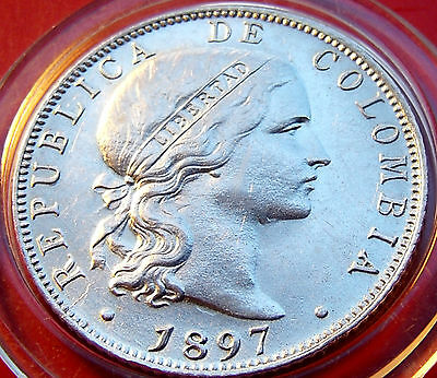 RARE About Uncirculated Silver 1897 Columbia 20 VEINTE Centavos. Nearly extinct.