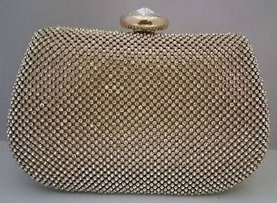 Vintage Gold Crystal Diamante Ladies Clutch Bag Evenings Wedding Party