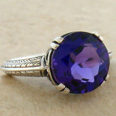 3.5 Ct. Lab Amethyst Antique Design 925 Sterling Silver Ring Size 9,        #292
