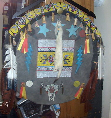 Native American Fancy Beaded Leather War Shield Authentic ~ Signed & Dated ~