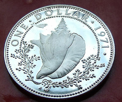 BU SILVER DOLLAR 1971 BAHAMAS- Conch Shell Silver Dollar, Imperfect but NICE!