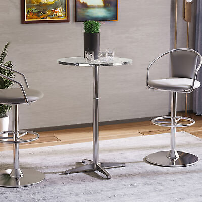 Adjustable Bar Table Metal W/Chromed Base Round Tabletop Dining Pub Style Alu