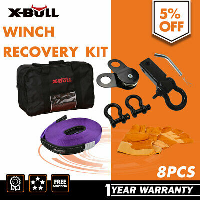 Winch Recovery Kit Bow Shackles Pulley Block Hitch Receiver Snatch Strap 4WD 4X4