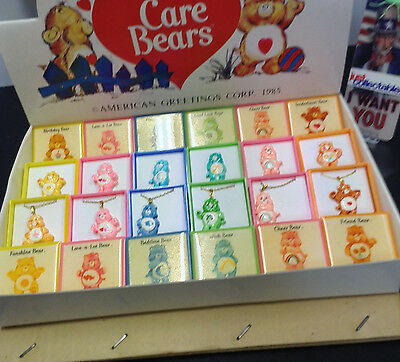 Care Bears Display Box Of 24  Pins & Necklaces Am Greetings Corp 1985