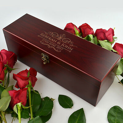 Engraved Wooden Stained Wine Box Set, Wedding, Anniversary Gift, Engagement