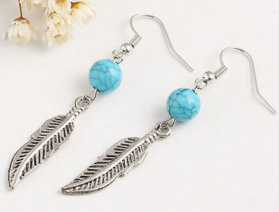 Horse & Western Jewellery Jewelry Native Style Feather Earrings Silver Turquoise