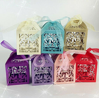 50 PCS Love Bird Laser Cut Candy Wedding Party Gift Boxes Favor With Ribbon
