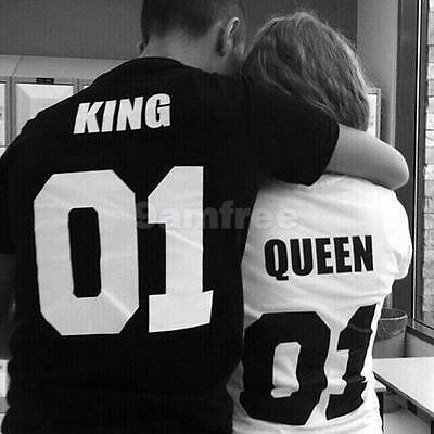 Couple Matching Tops O Neck Short Sleeve KING QUEEN 01 Letter Print Sexy T-Shirt