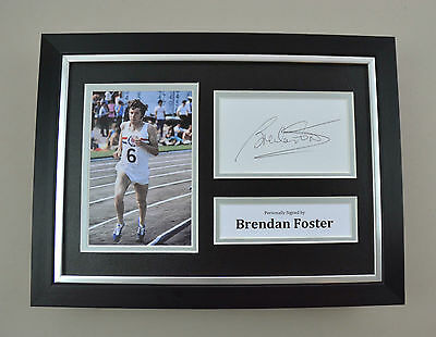 Brendan Foster Signed A4 Photo Framed Olympics Memorabilia Autograph Display COA