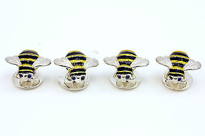 Deakin and Francis Silver & Enamel Bumble Bee Dress Studs Sapphire Eyes Set of 4