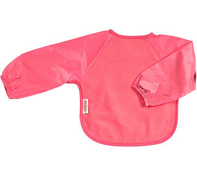 Silly Billyz Baby Weaning Bib - Long Sleeves - Fleece - Cerise Pink - 6-24 Mths