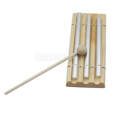 Kids Play 3 Tone Silver Chime Drumstick Beat Musical Percussion Fun Toy Gift