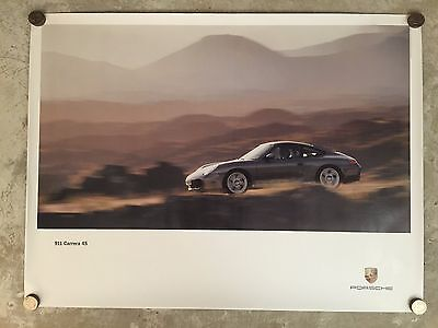 2001 Porsche 911 Carrera 4S Coupe Showroom Advertising Poster RARE! Awesome L@@K