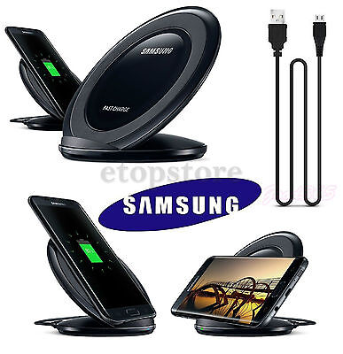 Samsung Galaxy S7 Edge S6 Fast Qi Wireless Charger Pad With Stand Black UK