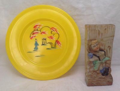 Wall Pockets Japanese, Ceramic Girl w/Accordion and Yellow painted plastic plate